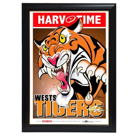 Wests Tigers, Nrl Mascot Harv Time Print Framed - 4203