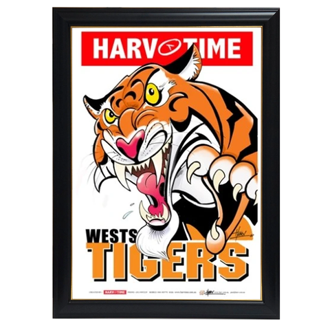 Wests Tigers, Nrl Mascot Print Harv Time Print Framed - 4128