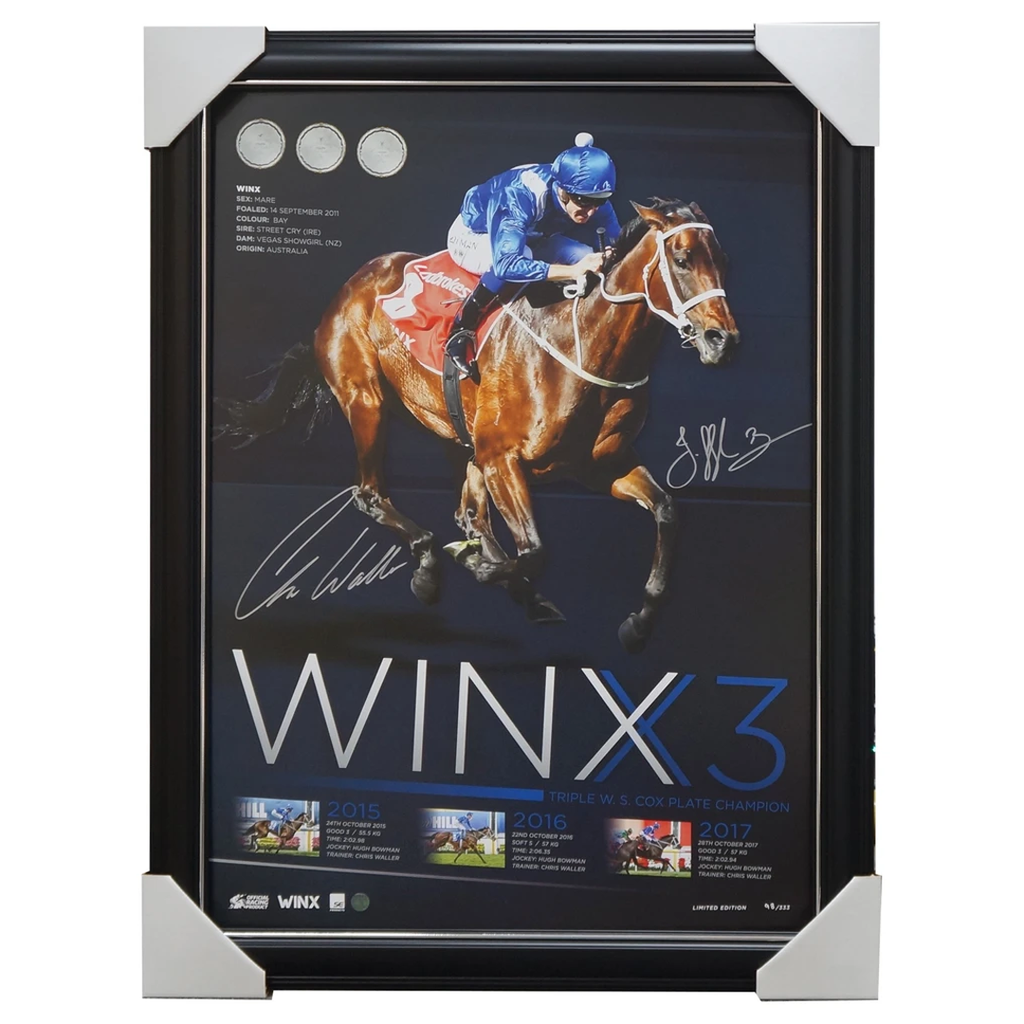 Winx 2017 Cox Plate Champion Dual Signed Official Print Framed Waller Bowman - 3220
