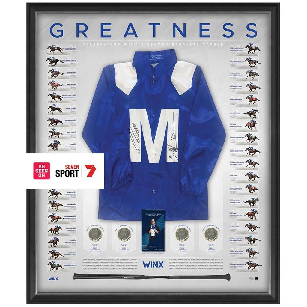 Winx Dual Signed Limited Edition The Greatest Official Retirement Silks Framed Waller & Bowman - 3659
