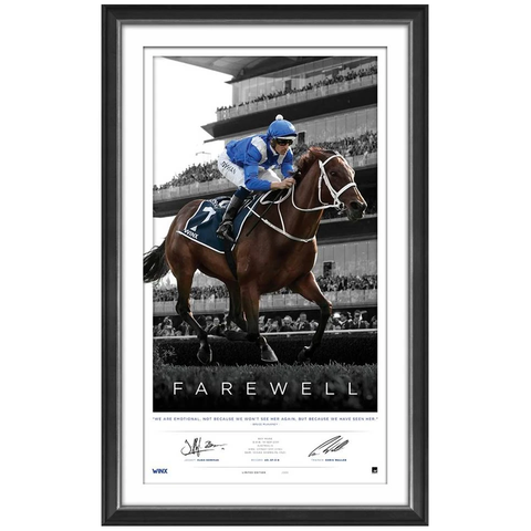 Winx Farewell Dual Signed Limited Edition Official Retirement Print Framed Waller & Bowman - 3662