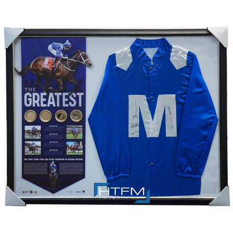 Winx Signed 2018 Cox Plate Champions Official Silks Framed + 4 Replica Cox Plates - 3539 Only 1 Unit Left