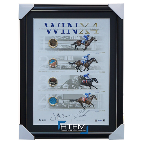 Winx Signed 4 X Cox Plate Champion Official Lithograph Framed Winx4 - 3541 in Stock Now