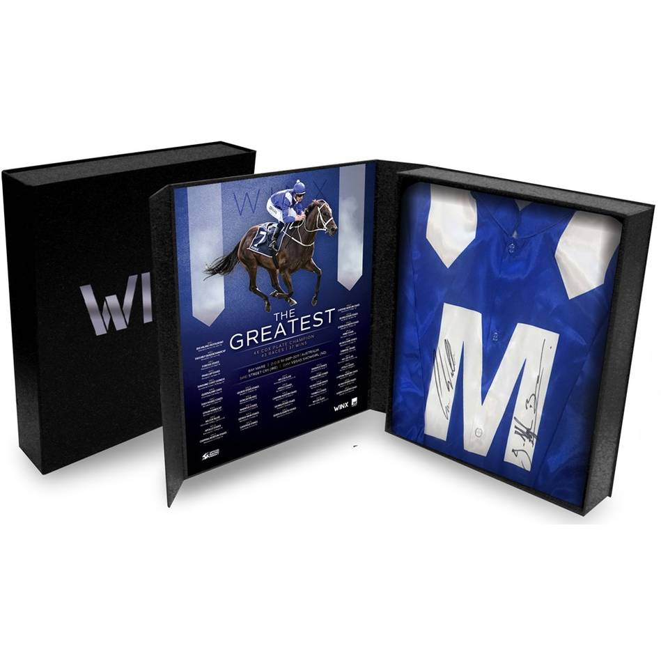 Winx Dual Signed Chris Waller and Hugh Bowman Official Silks In Display Box - 4337