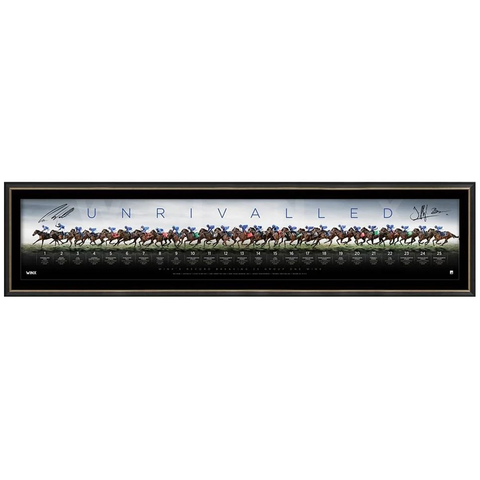 Winx Unrivalled Dual Signed Limited Edition Official Retirement Panoramic Print Framed Waller & Bowman - 3661