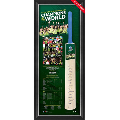 Australia Icc T20 Womens 2020 Champions Squad Signed Official Bat Framed - 4339