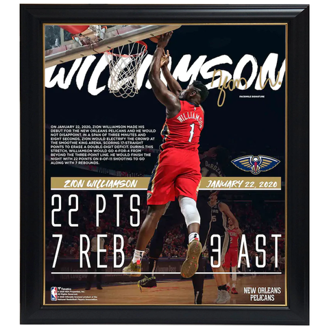 Zion Williamson New Orleans Pelicans NBA Debut Collage Facsimile Signatures Official NBA Print Framed - 4346