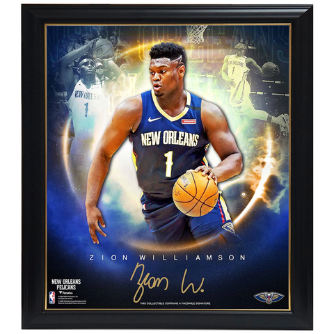 Zion Williamson New Orleans Pelicans Stars of the Game Collage Facsimile Signature Official NBA Print Framed - 4425