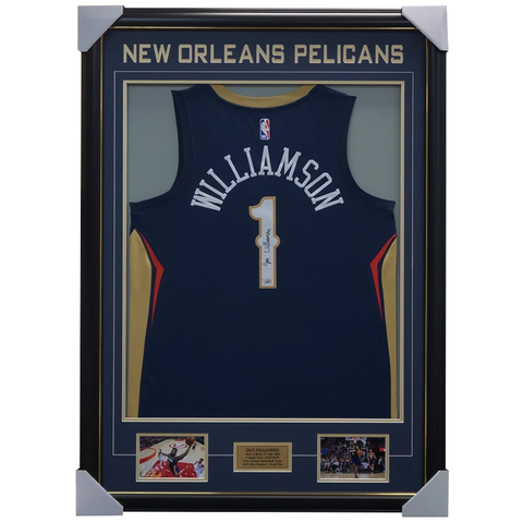 Zion Williamson Signed New Orleans Pelicans Jersey Framed Official Fanatics Signing - 3958