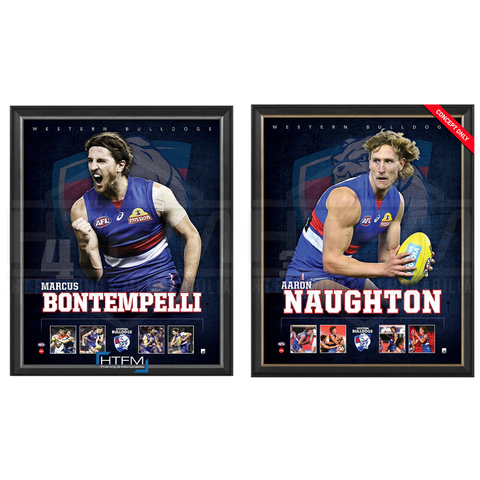 Western Bulldogs Official Licensed AFL Prints Framed Naughton Bontempelli - 4495
