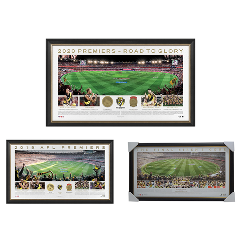 2017, 2019 & 2020 Afl Premiers Richmond Official Panoramic Print Framed Package - 4581