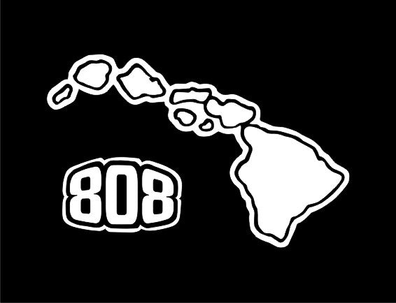 808 Hawaiian Islands sticker on tinted glass