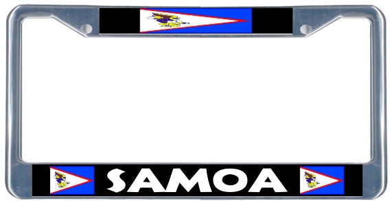 American Samoa Flag License Plate Frame - black & chrome