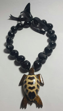 Black Kukui Nut Lei with wood Honu - FREE SHIPPING!