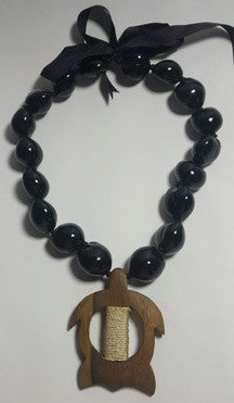 Black Kukui Nut Lei with wood Petro Honu - FREE SHIPPING!