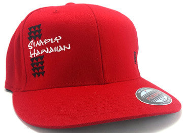 Black Simply Hawaiian Shark Teeth Red FlexFit Hat