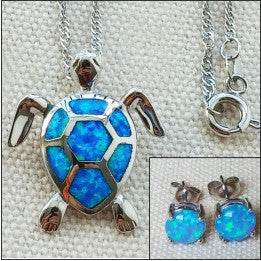 Opal stone Honu w/18 inch Twisted Chain