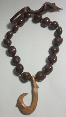 Brown Kukui Nut Lei with wood Hook - FREE SHIPPING!