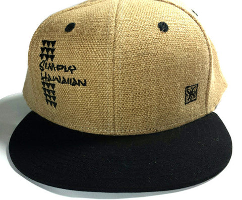 Burlap Shark Teeth Black Snap Back