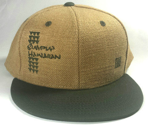 Burlap Shark Teeth Green Snap Back