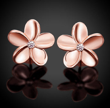 CZ Plumeria Flower Earrings Silver or Rose Gold - FREE SHIPPING!
