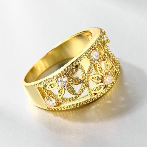 Cubic Zirconia Hollow Flower Ring - 18K Gold plated & Rose Gold - FREE SHIPPING!