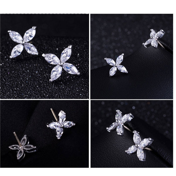 Cubic Zirconia Single Flower Earrings - FREE SHIPPING!