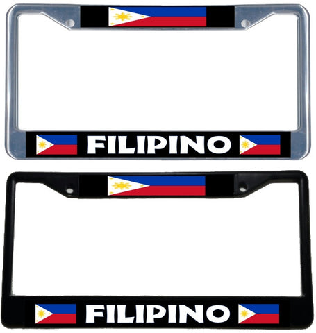 Filipino Flag License Plate Frame - black & chrome