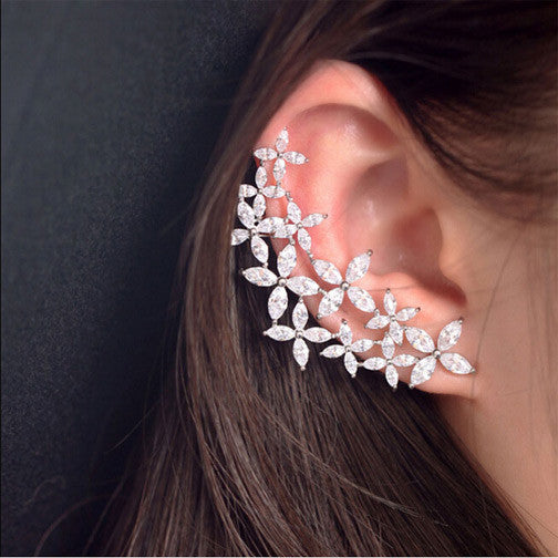 Cubic Zirconia Flower Stud Earrings - FREE SHIPPING!