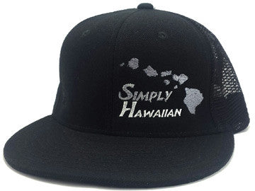 Grey Islands All Black Snap Back Trucker Flat Bill