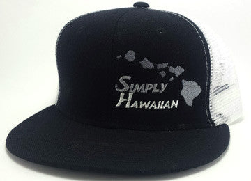 Grey Islands Black/White Snap Back Trucker Flat Bill