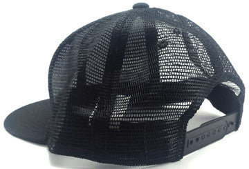 Grey Simply Shark Teeth All Black Snap Back Trucker Flat Bill