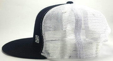 Grey Simply Shark Teeth Black White Snap Back Trucker Flat Bill