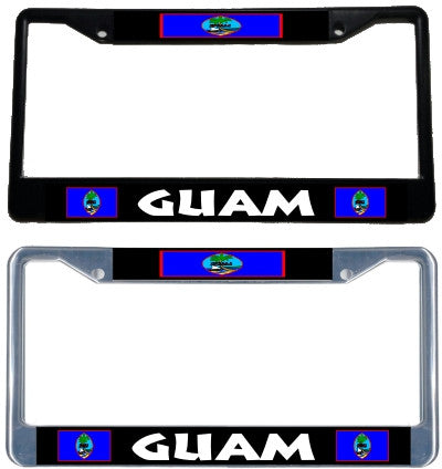 Guam Flag License Plate Frame - black & chrome