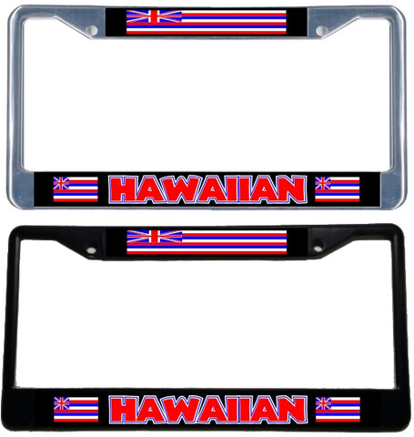 Hawaiian Flag License Plate Frame - black & chrome