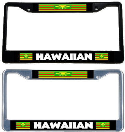 Hawaiian Sovereignty Flag License Plate Frame - black & chrome