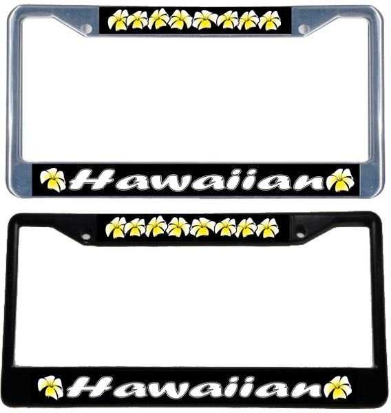 Hawaiian Plumerial License Plate Frame - black & chrome
