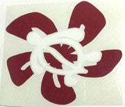 Honu Hibiscus white/red Sticker
