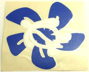 Honu Hibiscus white/blue Sticker