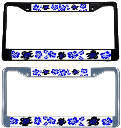 Honu Hibiscus Blue License Plate Frame - Black & chrome