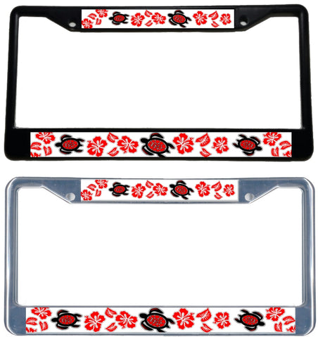Honu Hibiscus RED License Plate Frame - Black & chrome