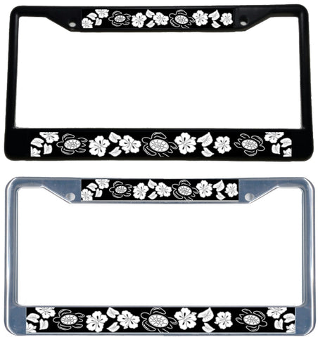 Honu Hibiscus Blk/Wht License Plate Frame - Black & chrome