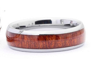 Simply Hawaiian Koa Wood Inlay Tungsten Mens Ring - FREE SHIPPING!