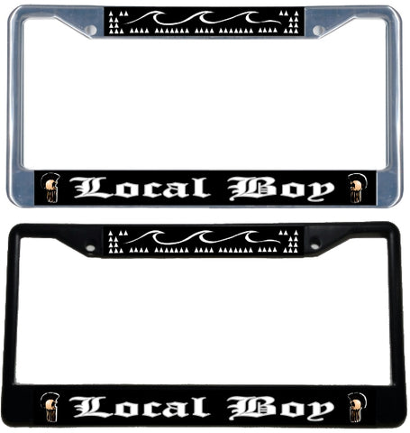 Local Boy License Plate Frame - black & chrome