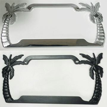 Palm Tree metal License Plate Frame - black & chrome
