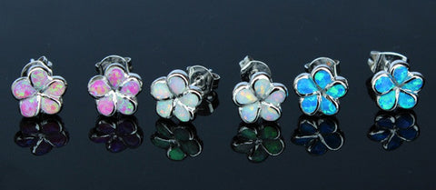 Plumeria Flower Fire Opal Stud Earrings - 3 Colors - FREE SHIPPING!