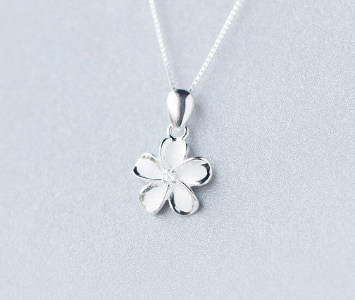 Sterling Silver White Plumeria Hawaii Necklace - FREE SHIPPING!