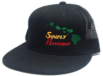 Rasta Islands All Black Snap Back Trucker Flat Bill