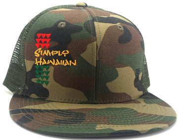 Rasta Simply Shark Teeth Green Fatigue Snap Back Trucker Flat Bill