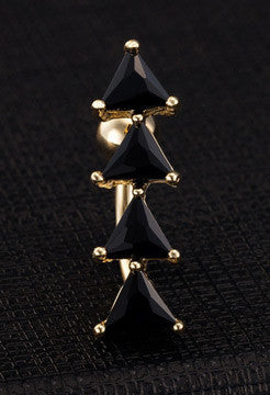 Black Crystal Shark Teeth Belly Ring - FREE SHIPPING!